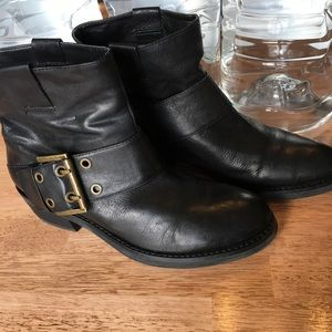 Nine West Black Leather w. Brass Buckle Booties
