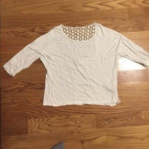 White Crochet Back Tee with 1/4 Length Sleeves