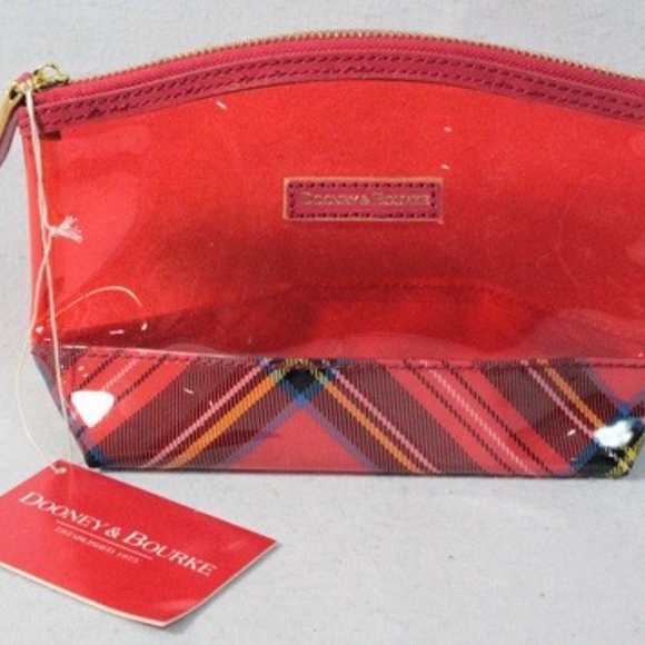 Dooney & Bourke Handbags - Dooney & Bourke Small Cosmetic Bag, Red Plaid.
