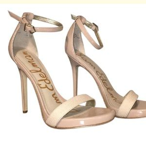 Sam Edelman nude open toe heels with ankle strap
