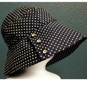 Tatyana Dotty 50s Garden Bonnet Hat Blue Polka Dot