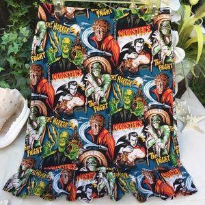 Horror monsters print ruffle pencil skirt sz- M