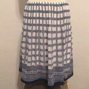 Blue and white print skirt