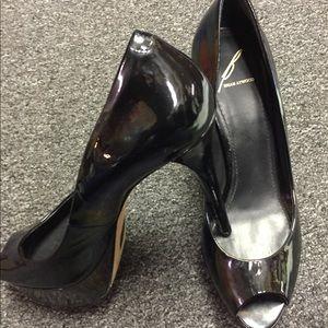 Brian Atwood Patent leather platform Peep toe