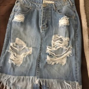 Mid length denim skirt