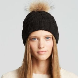 Black knit bean hat with real fur.