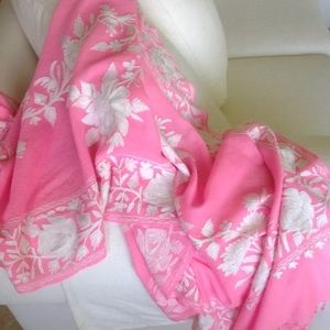 Pink crewel wool embroidered shawl pashmina wrap
