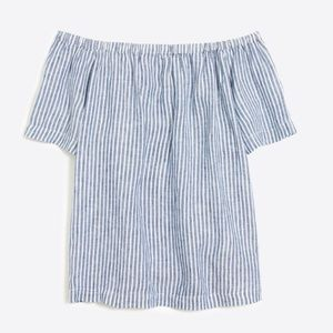 J. Crew Off the Shoulder Striped Linen Top