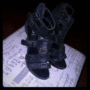 Strappy Black Suede Heels