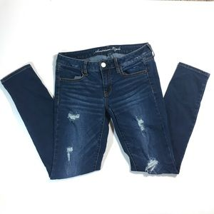 American eagle stretch distressed jegging jeans 8