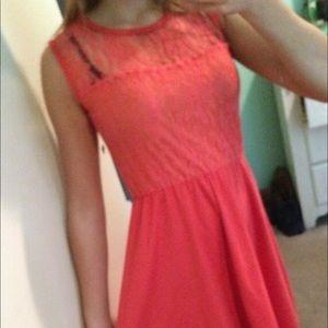 Coral flowy dress