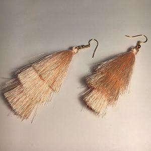3 tiered millennial pink tassel earrings