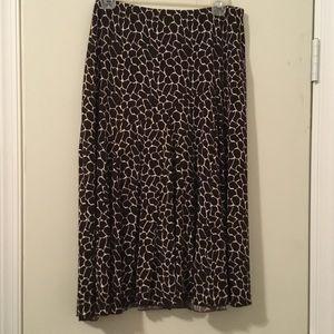 Brown and white printed midi skirt
