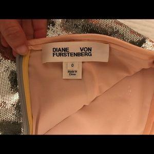 Diane Von furstenberg silver sequin skirt