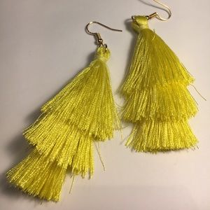 Canary yellow 3 tiered tassel earrings