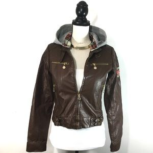 Coogi Brown Faux Leather Moto Bomber Hooded Jacket