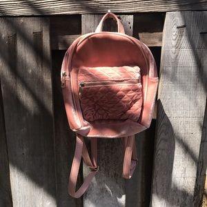 Baby pink small velvet backpack