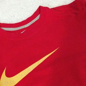 Nike Crop Top Red with Yellow Swoosh Vintage