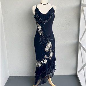 ECI Silk Beaded Dark Navy Dress Size 8