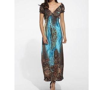 BOHO Teal and Brown Maxi Dress - NWOT