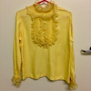 💛 Vintage Yellow Ruffled Bib Blouse 💛