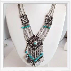 NWT Izaro Turquoise Stone Bib Necklace