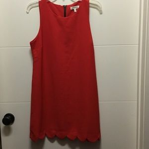 Red Dress with Scalloped Detail