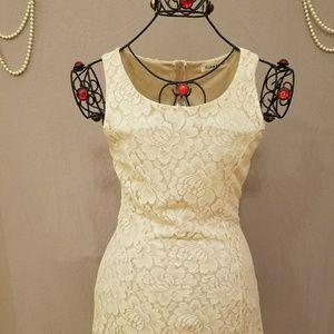 Cream Floral Lace Flirty Dress