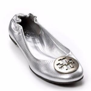 Tory Burch Reva Metallic Silver Ballet Flats 6.5