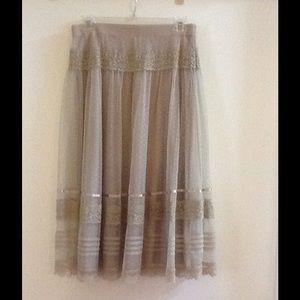 women's beige lace flare midi skirt
