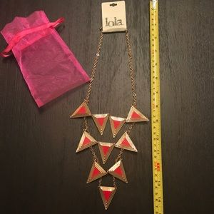 Red & gold triangle tiered necklace- NWT