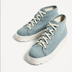 Zara blue fabric platform ankle boots