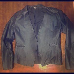 Stylish vegan leather blazer- with textured collar