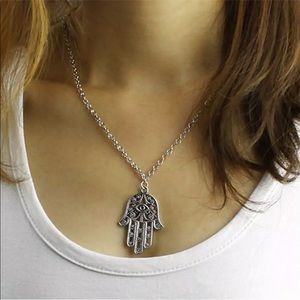 Silver Plated Hamsa Necklace