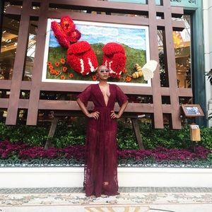 Burgundy deep V lace dress