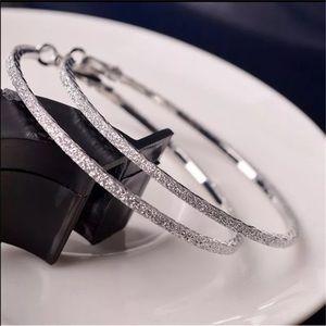 Jewelry - Silver Glitter Hoop Earrings