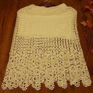 Crochet overlay midi skirt