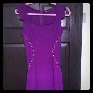 Purple pencil dress w/ embellished seams
