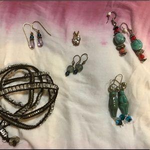 Bundle of earrings and wrap bracelet