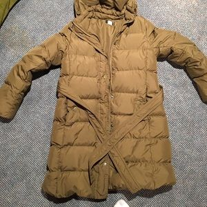 JCREW down coat. Size Med. Olive kinda color