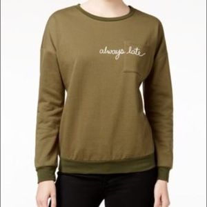 Olive green Long sleeved sweater like top.