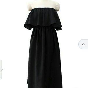 Off shoulder ruffle long dress