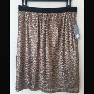 Splendid copper sequin mini pencil skirt women's S