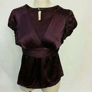 BCBG MAX AZRIA silk short sleeve purple blouse XS