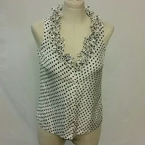 J. Crew light silk Cami polka dot blouse zero 0