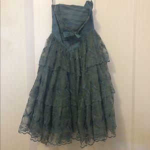 Betsey Johnson blue ruffle party dress