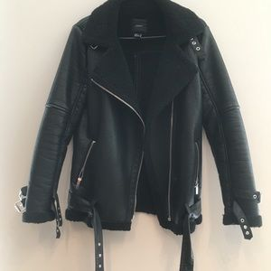 Faux leather shearling