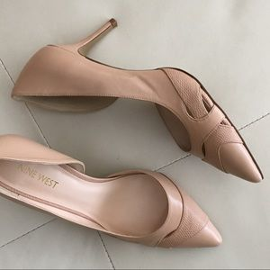 Nine West Leather Pointy Toe Pumps - Blush Color