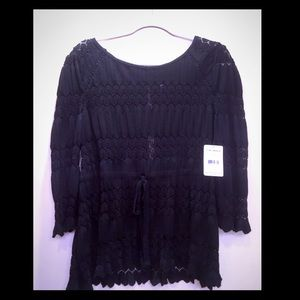 NWT Free People Black Lace knit shirt top