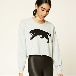 Panther Crop Sweater